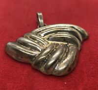 Vintage Sterling Silver Necklace 925 Pendant Modernist Taxco Mexico Puffy