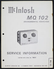 McIntosh mq-102 original Environmental equalizzatore Service-Manual/diagram