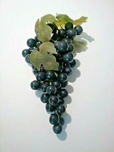 """Vintage Black Grapes Soft Rubber Plastic Faux Bunch 7 1/2"""" Long W/Leaves"""