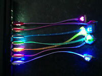 "8"" SHORT LED USB data sync charger light-up cable for iphone 4 4S 3 iPod nano 4"