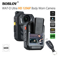"""WA7-D 64GB 2.0"""" TFT Body Worn Camera Recorder 170°FOV HD 1296P Waterproof IP67"""