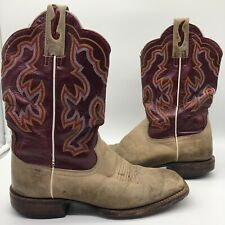 Ariat Men's 8D Nitro Tan & Red Leather Square Toe Ride Western Cowboy Boots