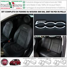 FODERE COPRISEDILI Vera Pelle Su Misura! FIAT 500 Fodera FODERINE COMPLETE Nero