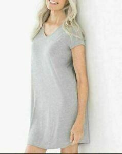 Soma Cool Nights M Short Sleeve Sleepshirt V Neck Heather Opal Gray