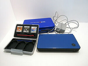 USED NINTENDO DS XL BLUE LOT 3 GAMES WITH BOOKLETS  2 CASES POINTERS CHARGER