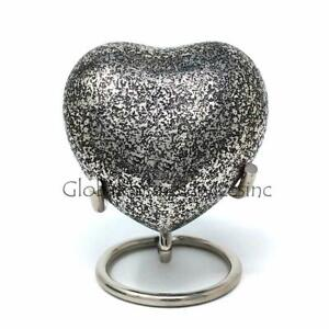 Glenwood Small Black Heart Keepsake Urn With Stand For Ashes