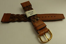 France Brown Braided Woven Oil Leather 20mm Watch Band Gold Tone Buckle $19.95