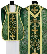 Green Roman Chasuble with stole R027-Z14 Casulla Romana Verde Casula Grün Kasel