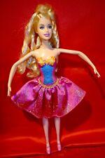 Barbie doll Ballerina pink blue gold costume   poses hinged feet blonde hair