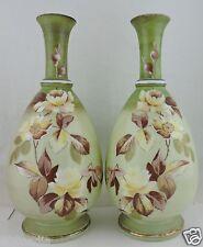 Antique Bristol Art Glass Vase Pair Sage Green Yellow Rose Flower Hand Painted
