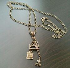 "Seamstress Sewing Machine Silk Cord Dress Necklace 30"" Bronze Tone Retro Jewelry"