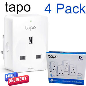 4 x TP-Link Tapo Smart Plug WiFi Outlet Works with Amazon Alexa & Google Home