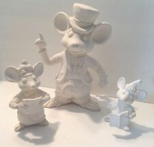 MICE CHRISTMAS CAROLING 3 PIECE CERAMIC BISQUE READY TO PAINT
