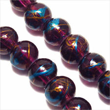 Lot de 30 Perles en Verre Décorées 8mm Améthyste