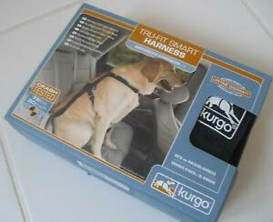 BLACK LARGE L Kurgo TRU-FIT Smart Chest Harness + Car Seatbelt Loop 23-36 kg Dog