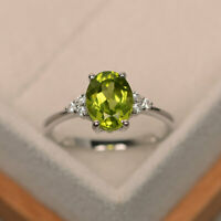 2.15 Ct Peridot 14K White Gold Natural Diamond Anniversary Ring Oval Size 6 7 8