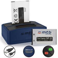 2 batterie tipo Casio np-20 supporto di ricarica batteria Batteria di ricambio Duo Caricabatterie
