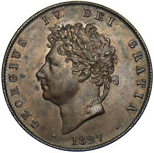 More details for 1827 halfpenny - george iv british copper coin - v nice