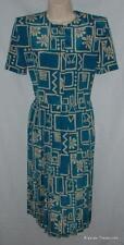 Vintage Blue Print Small 6 / 8 Petite Church Office Pleated Dress LESLIE FAY