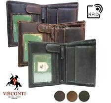Para Hombre Para Cartera de Cuero Real Marrón triple de RFID, Bronceado, Verde Visconti 709 Nuevo En Caja
