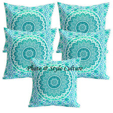 Decorative Cotton Pillow Covers 16 x 16 Printed Mandala Ombre Sofa Cushion Cover