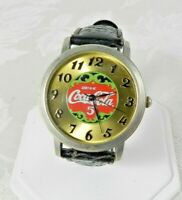 "2003 Coca Cola Watch ""Drink Coca Cola 5c"" Silver Gold Black Leather Band Japan"