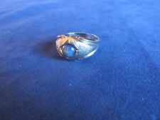 Mens Boys White Gold Plated Simulated Star Sapphire Fashion Ring Sz 12