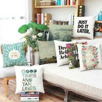 Quote Landscape Cotton Linen Pillow Case Sofa Car Throw Cushion Cover Home Decor