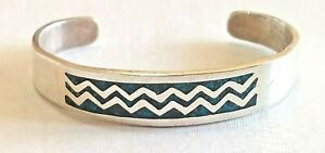 Vintage Mexico Taxco Sterling Blue Turquoise Inlay Cuff Bracelet