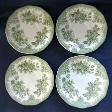 "Enoch Wedgwood Ltd. (Tunstall) ~ ""Asiatic Pheasants - Green"" ~ Set of 4 SAUCERS"