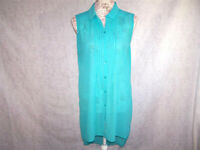 14th Union Tunic Top Blouse Medium High Low Button Up Sleeveless Sheer Green