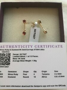 9CT GOLD WINZA RUBY & DIAMOND EARRINGS GEMPORIA BNWT