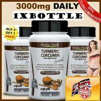 TURMERIC CURCUMIN + BIOPERINE 90,000mg 95% BLACK PEPPER ANTIOXIDANT PILLS LOCAL