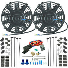 "DUAL 7"" INCH ELECTRIC FANS 3/8 FAN COOLANT THERMOSTAT DIRT STREET RACE CAR TRUCK"
