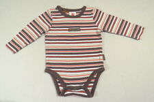 Pumpkin Patch Brown White & Red Striped Bodysuit, 0-3 mos.