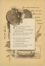 ANTIQUE BIRTH MONTH JULY LEO DAHLIA FLOWER CHERRY TREE BOAT POEM VICTORIAN PRINT