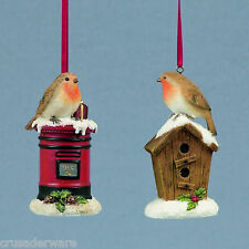 Set of 2 Christmas Robins Tree Decorations 12844