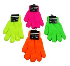 2 Pairs Neon Magic Gloves Assorted Colors Mens Womens Winter Warm Gloves