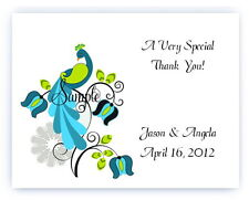 100 Custom Personalized Turquoise Peacock Wedding Bridal Thank You Cards