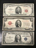 RARE Lot 1935-1957 $1 Blue Seal Silver Certificate 1928-1963 $2 $5 Red Seal Note