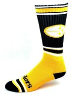 For Bare Feet Pittsburgh Steelers Black Gold & White Striped Tall Crew Socks