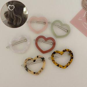 Women Sweet New Love Heart Shape Hair Clip Acetate Barrette Geometric Frog Clip