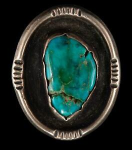 Vintage L.PLATERO Navajo Sterling Silver Turquoise Ring