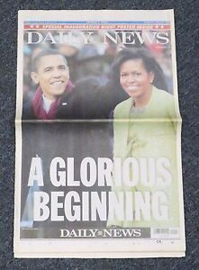 2009 Daily News Newspaper President Barack Obama & Michelle Obama Inauguration