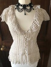 M&Co 12 Ivory & Black Dotty Print Crinkle Sheer FRIL Blouse VICTORIAN STEAMPUNK