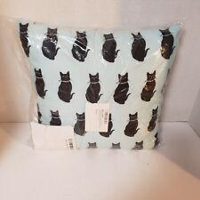 "Throw Pillow ArtVerse Katelyn Smith Blue Cat Pattern Black Cats New 14"" x 14"""