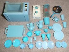 BARBIE KEN DOLL HOUSE KITCHEN DINING - 26pc SET of BLUE DISHES w/ MICROWAVE