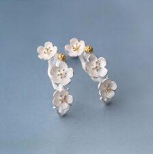 Plum Cherry Blossom Flowers 925 Sterling Silver Stud Earrings for Women