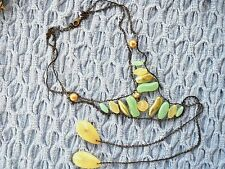 Beaded Bib Bolo Necklace Multi-Color Glass & Plastic