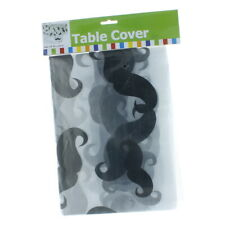 """Clear Plastic Mustache Tablecloth 54"""" x 108"""" Fun Express IN-13629113"""